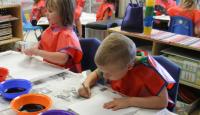 preschool kids painting